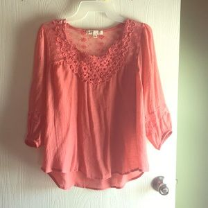 Coral boho lace top
